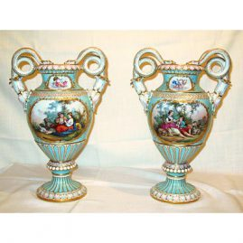 "Pair of Meissen vases with Boucher scenes, late 19th century,  15"" tall, Sold"