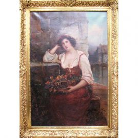 Oil on canvas of lady and currants, signed J. Mccolvin