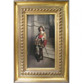 "Oil on board of cavalier, framed 15""by 24"", beautifully done, 19th century painting. , Sold"