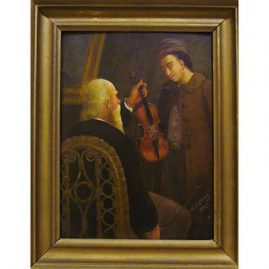 Oil on board of man with violin and prodigy, signed N. D. Elting