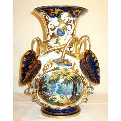 Old Paris Porcelain vase with beautiful scene of park
