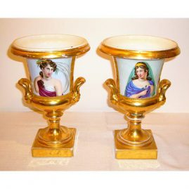 "Pair of Paris Porcelain portrait campana form vases, 9 1/2""  tall, late 19th century, sold"