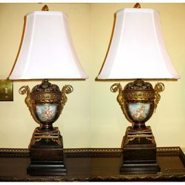 Pair of Sevres style lamps signed Collot, late 19th century, signed Chateau Longpre, sold