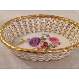 Rare Meissen basket weave bowl with flower bouquet in center