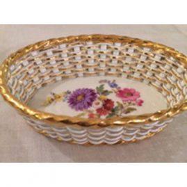 Rare Meissen basket weave bowl with flower bouquet in center