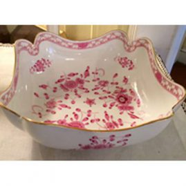 Rare Meissen purple Indian four cornered bowl.  Late 19th century. Size-8 3/4 inches. Sold. We have other square Meissen purple Indian bowls available.