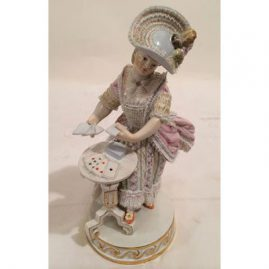 Meissen figurine of lovely lady playing cards, Height-6 1/2 inches, Circa-1880s to 1890s. Great condition. Sold