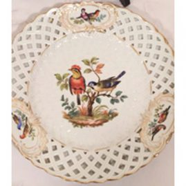 Close-up of one of the dot Meissen rare reticulated bird plates