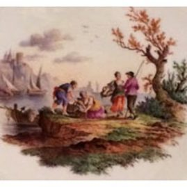 Close-up of seascape on previous Meissen plate