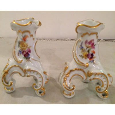 Pair of Meissen candlesticks or vases on three feet