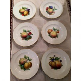 Set of twelve Meissen fruit plates finely painted, each painted differently with different paintings of fruits.  Circa-1870s-1880s. Size-7 1/2 inches. Price on Request.