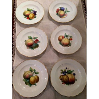 Set of twelve Meissen fruit plates finely painted, each painted differently with different paintings of fruits.