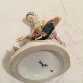 Mark on the Meissen figurine of lady feeding her chickens, Circa-1860s-1870s, 5 inches tall by 3 1/2 inches wide, Sold.