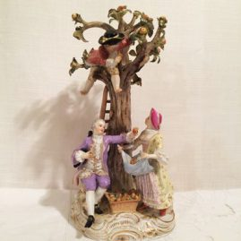 Large Meissen figural group of  four Meissen apple pickers,  Circa-1870s-1880s, height-10 1/2 inches by 7 inches wide, Sold.