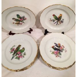 Set of twelve rare Meissen bird plates, each hand painted with different birds and flowers. Diameter-9 5/8 inches. Sold