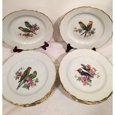 Set of twelve rare Meissen bird plates, each hand painted with different birds and flowers