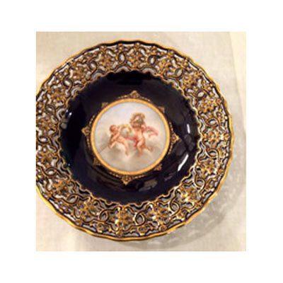 Cobalt Meissen reticulated cherub plate