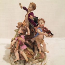 Other side of Meissen figural group with five Meissen musicians