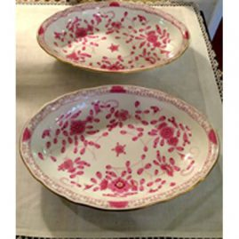 Pair of Meissen purple Indian oval serving bowls