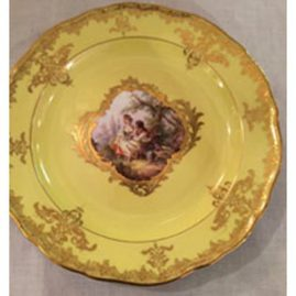 Rare yellow Meissen plate with Watteau scene of lovers. Ca-1880s-1890s, diameter 8 1/4 inches. Sold.