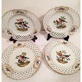 Set of five dot Meissen rare reticulated bird plates each hand painted with different birds.