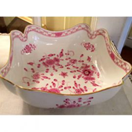 Rare Meissen Purple Indian four cornered large bowl. It is 10 inches Sold. We have two other Meissen purple Indian bowls available.