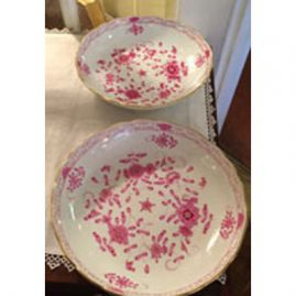 Pair of Meissen purple Indian round bowls,
