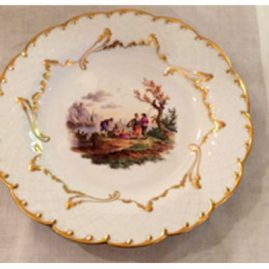 Rare Meissen fluted plate with hand painted scene of seascape. Ca-1870s-1880s. Price on Request.