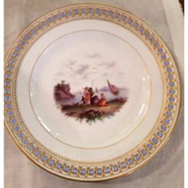 Rare Meissen reticulated plate with raised forget me nots and painting of a European seascape