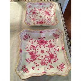 Two Meissen purple Indian square bowls