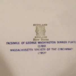 Fascimile of The George Washington Presidential china from the Cincinnati Service made by Spode in 1955