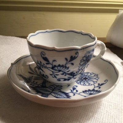 Meissen blue onion cups and saucers