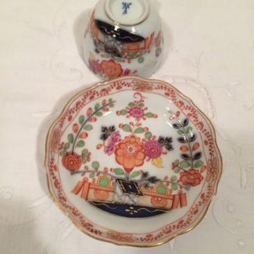 Close up of one of the rare Meissen demitasse cups and saucers