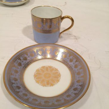 Close up of Sevres demitasse cups