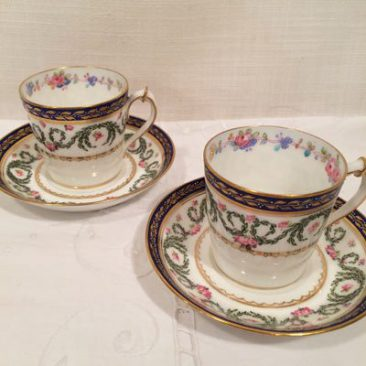 Ten Royal Crown Derby demitasse cups and saucers, Circa 1901. Price on Request. These can be sold individually or as a set.