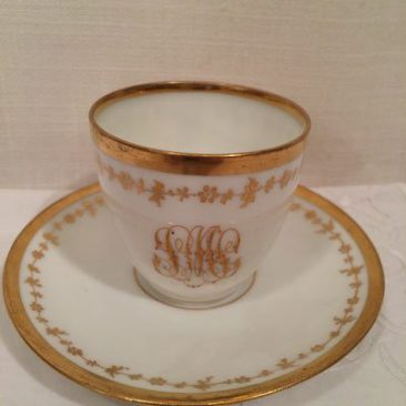 Five Ambrosious Lamb Dresden demitasse cups and saucers