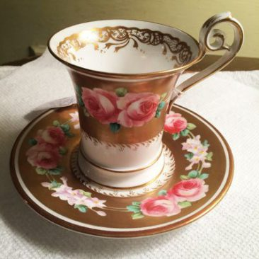 English pink rose cabinet cup and saucer,  Sold.