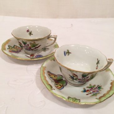 Four Herend Queen Victoria demitasse cups and saucers with antique Herend mark, Price $90 each.