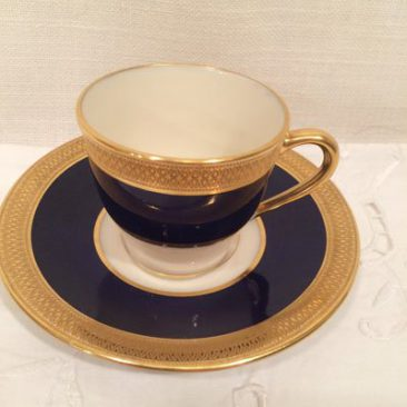 Eleven Lenox cobalt and gold demitasse cups and saucers, made for Tiffany and Company, in cobalt with gold embossed border, green Lenox mark, Can be sold individually or as a set. Price $55 each cup and saucer.