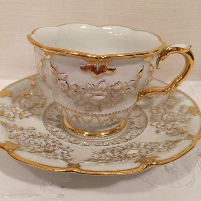 Twelve Meissen Cups And Saucers With Raised Flower Decoration Beauteous Decorative Cups And Saucers