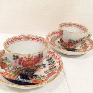 Six rare Meissen demitasse cups and saucers