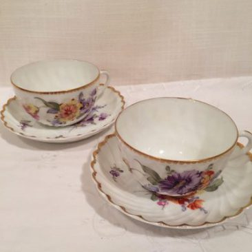 Six Nymphenburg cups and saucers, each painted differently, Price is $120 each, Can buy as set or individually.