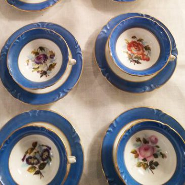 Set of eight Paris Porcelain cups and saucers each painted with different flowers, Circa-1890s, Price on Request.
