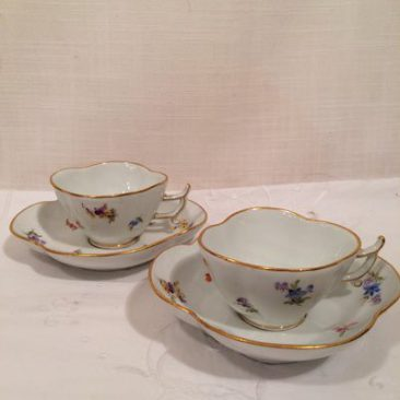 Four Meissen quatrefoil streublumen cups and saucers, Circa 1880s, Prices on Request. Can be sold as set or individually.