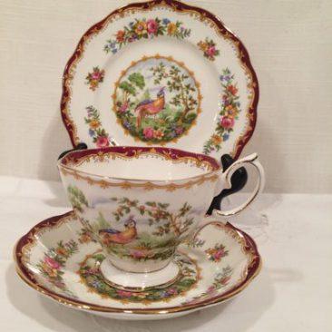 Twelve Royal Albert trios with cup, saucer and cake plate, Each trio is $45. Can buy one individually or the whole set. Cake serving dish is also available.