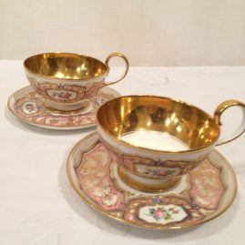 "Eleven ""Sevres"" teacups and saucers, have cancellation mark, gold interior, Circa-1849. Price-$100 each, can be sold individually or in a set."