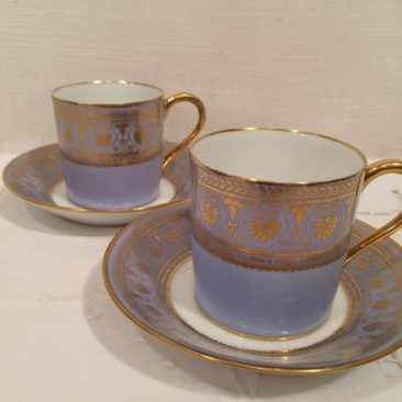 Pair of Sevres demitasse cups and saucers, Chateau de St Cloud, 1846. Sold