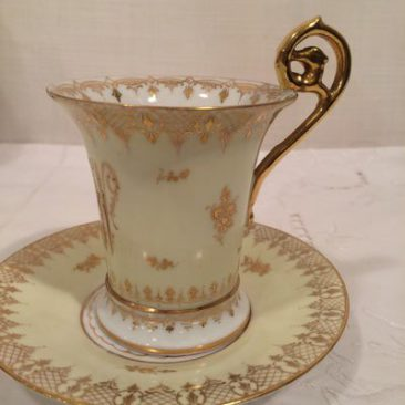 Picture of handle on one of the six Dresden cabinet cups and saucers, Circa-1890s, Price on Request.