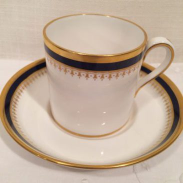 8 Copeland Spode large demitasse cups and saucers or coffee cans, Price $50 each.