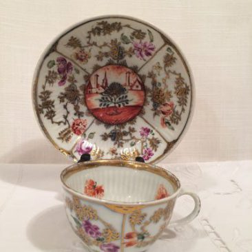 Rare antique Meissen teacup and saucer with scene, Circa-1830s,  Price on Request